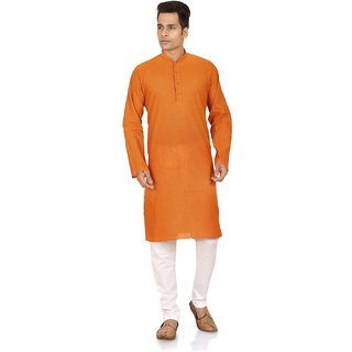 Orange Coloured Cotton Mens Kurta with Pyjama