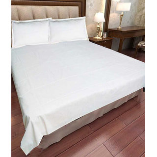 Akash Ganga Plain White Cotton Double Bedsheet with 2 Pillow Covers (Plain4)