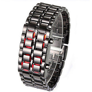 Black Samurai Steel RED LED Digital Watch Cum Bracelet For Mens  Womens