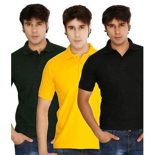 Weardo Men Polo T-Shirt Combo Yellow/Green/Black