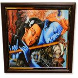Go Hooked Radha Krishna In Embrace Painting Print