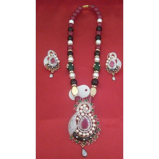 Pearl  American Diamond Pendant Set With Chain and Earrings available at ShopClues for Rs.4300