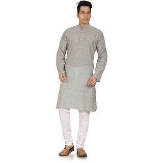 Stylish Grey South Cotton Mens Kurta Pyjama Set