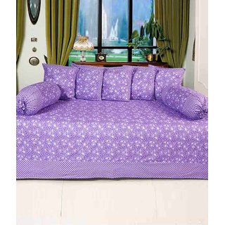 Akash Ganga Purple Floral Cotton Diwan Set (Pack of 8) (K34)