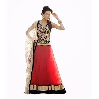 Help Designer Red Embroidered lehengha Choli Dupatta Set