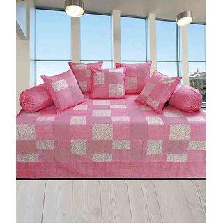 Akash Ganga Pink Cotton Floral Diwan Set (Pack of 8) (K39)