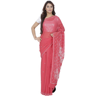 Red colour georgette chikan kari sari