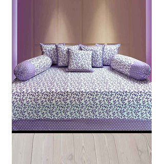 Akash Ganga Purple Cotton ABSTRACT dIWAN sET (Pack of 8) (K43)