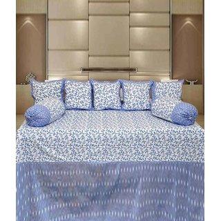 Akash Ganga Blue Abstarct Cotton Diwan Set (Pack of 8) (K44)