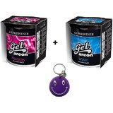 Combo Of Areon Car Air Gel Perfume Freshener~Passion + Wish Free Smiley KeyChain