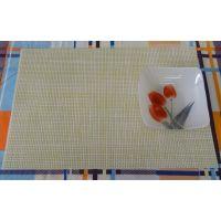 High Quality Basket Weave / Gripper Table Mats Set Of 6 Pcs - Cream & Yellow Chk