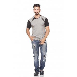 Demokrazy-GreyBlack-V-Neck-Half-Sleeve-T-Shirt-For-Men