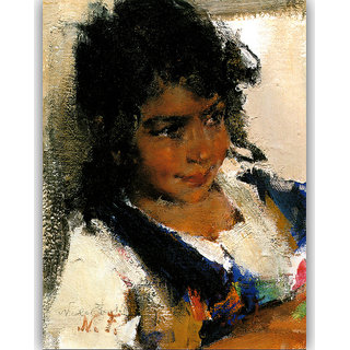 Vitalwalls Portrait Painting Canvas Art Print. Western-480-30cm