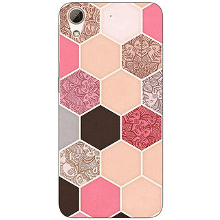1 Crazy Designer Pink Hexagons Pattern Back Cover Case For HTC Desire 626S C950271