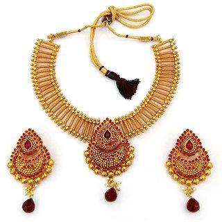 Utkrishtt Pink Copper Traditonal Drop Necklace Set - 8001908