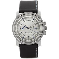 Fastrack Round Dial Black Leather Strap Mens Quartz Watch