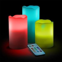 Valentine Gift- 12 Color LED Candles With Remote Control (3 Piece)