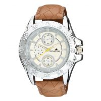 Jenkiins Round Dial Brown Leather Strap Mens Quartz Watch