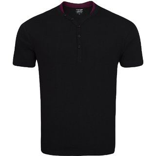 Zovi Mens Cotton Solid Henley Black T-shirt With Contrast Neck