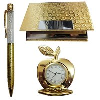 24k Gold Plated Corporate Set  (Crystal Pen, Business Card Holder  Table Clock)