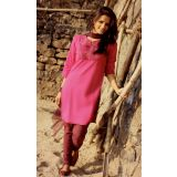 Pink & Wine Churidar Kurta Set