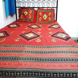 Bijou 100 Cotton Double Bedsheet Set  Red