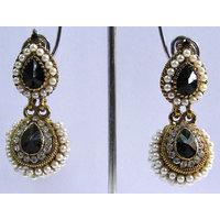 Black pearl stone jhumka earring
