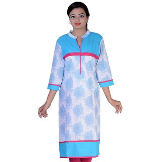 JINGADALA Blue Ladies Kurti  in cotton