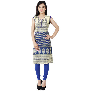 Kiosha Blue Sleeveless Cotton Kurti for women