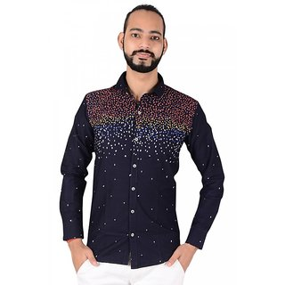 Solid Casual Blend Cotton Blue Shirt