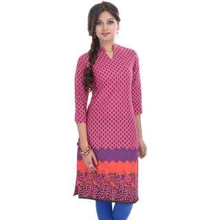 Beautiful Printed Pink Cotton Kurti from the house of Anjani