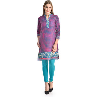 Kiosha Pink 3/4 Sleeve Pure Crepe Kurti for women
