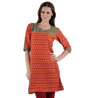 Kiosha Multi color 3/4 Sleeve Crepe Kurti for women