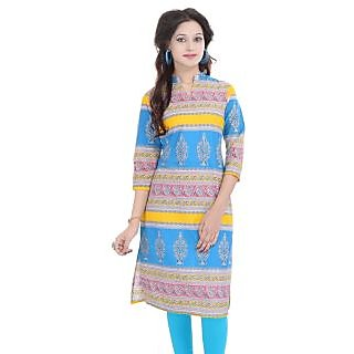 Beautiful Printed Bule Cotton Kurti from the house of Anjani