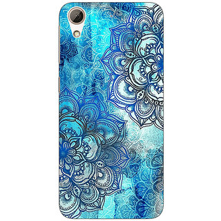 Absinthe Blue Floral Doodle Pattern Back Cover Case For HTC Desire 626