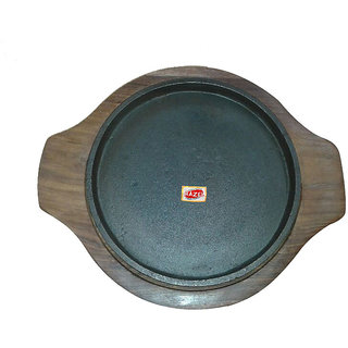 Hazel Sizzling Brownie Sizzler Plate / Tray with Wodden Base Round 8 inch VR2179 at shopclues