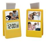 Family Photo Frame With Paper Clip & Lcd Clock