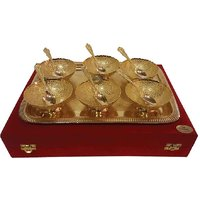 Gold Plated Bowl Set Of 6 Bowl,1 Tray  6 Spoon 24 CARAT PLATED Gift Item