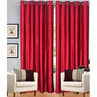 Home Fashion Gallery 2 Piece Red Plain Long Door Curtain