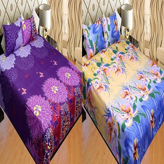 Furhome Combo Of 2 Double Bedsheets With 4 Pillow Covers.CT569