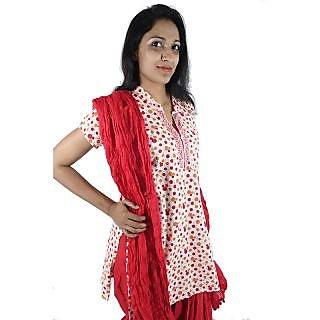 ShopMore Cotton Red Polka Printed Short Kurta