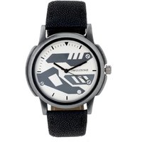 Swisstone White Dial Black Leather Strap Analog Watch For Men/Boys- ST-GR008-WHT-BLK