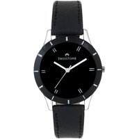 Swisstone Black Dial Black Leather Strap Analog Watch For Women/Girls- ST-LR002-BLK-BLK