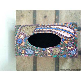 Madhubani painted tissue box