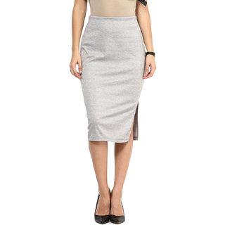 Sanriya Gray Pencil Knee Length Skirts for Women