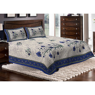 Jaipuri Haat Traditional Print Cotton Double Bedsheet With 2 Pillow Covers(JH-DB-KKALI-B)