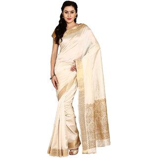 Parchayee Solid White Tussar Silk Saree 94804B
