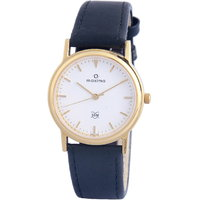 Maxima Round Dial Blue Leather Strap Mens Quartz Watch
