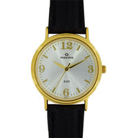 Maxima Round Dial Black Leather Strap Women Quartz Watch