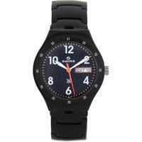 Maxima Round Dial Black Leather Strap Mens Quartz Watch